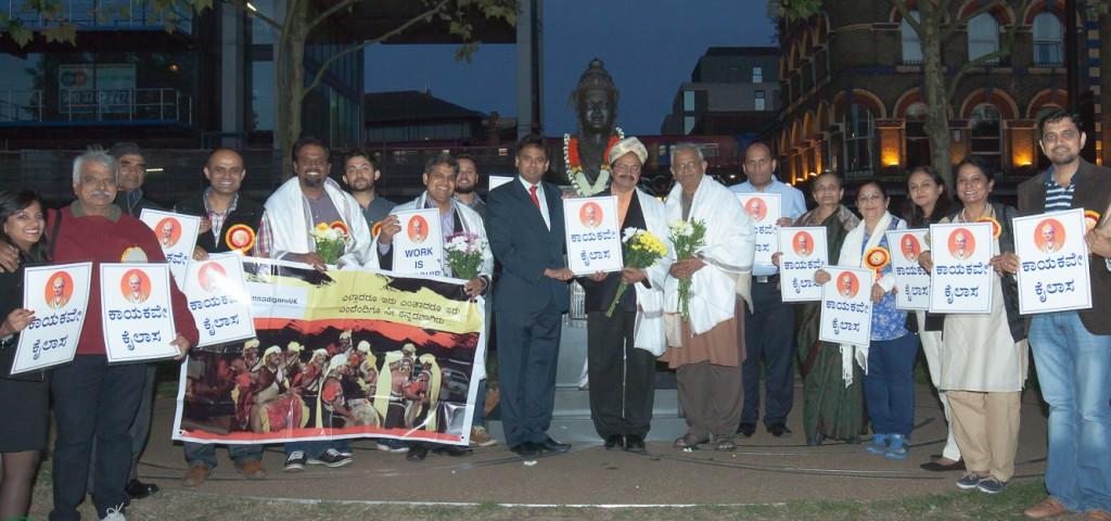 Nagathihalli Chandrashekar honoured in front of Basaveshwara statue in London